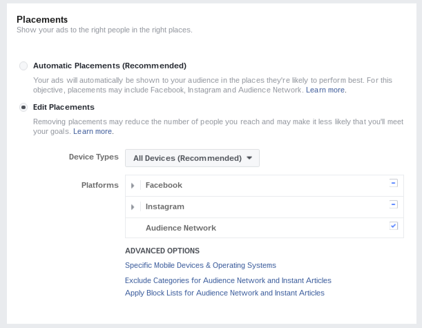 Placements available in Facebook Ads (FB, Instagram, Audience Network)