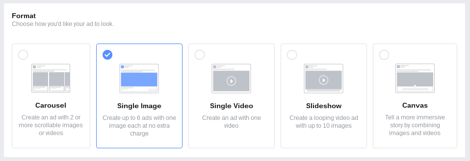 Ad Units and Formats available in the Facebook Ads Manager
