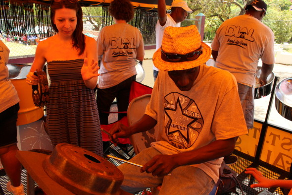 Mickela Mallozzi with The St. Thomas All Star Steelband