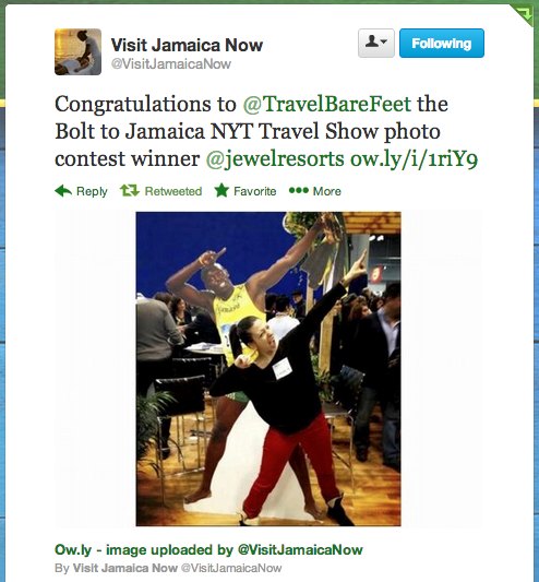 Mickela wins the 'Bolt to Jamaica' contest