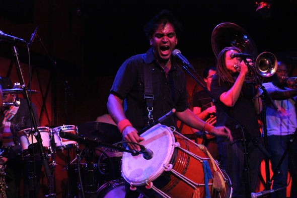 Sunny Jain leads his band, Red Baraat