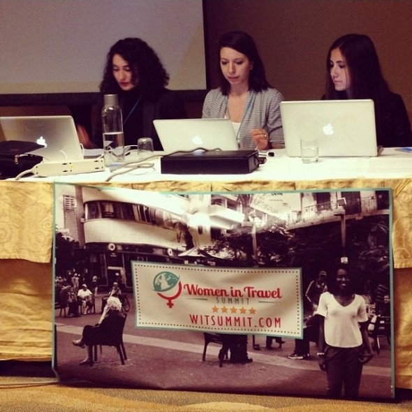 Gariné Tcholakian, Mickela Mallozzi, and Courtney Scott presenting at the WIT Summit in Chicago.
