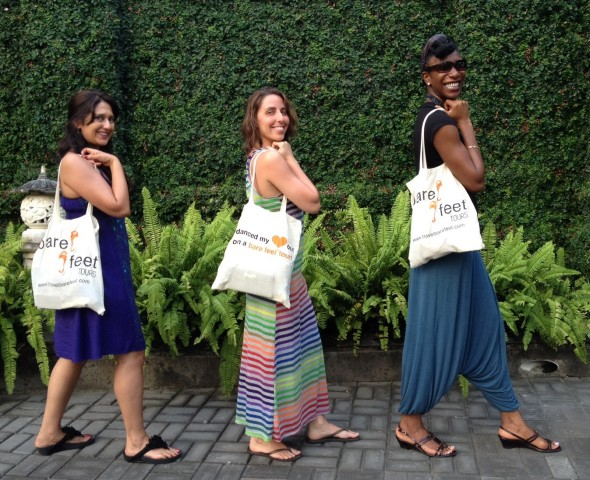 Ritu, Celine, and Dee Dee (our Bare Feet™ Tour travelers) making their way to the silver market.
