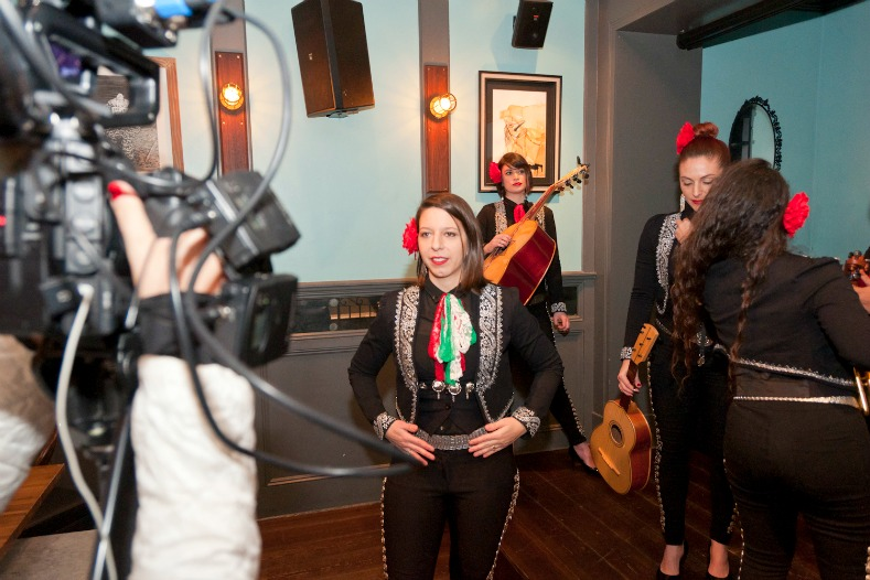 Behind the scenes of Bare Feet as Mallozzi films with members of the mariachi band Mariachi Flor De Toloache.
