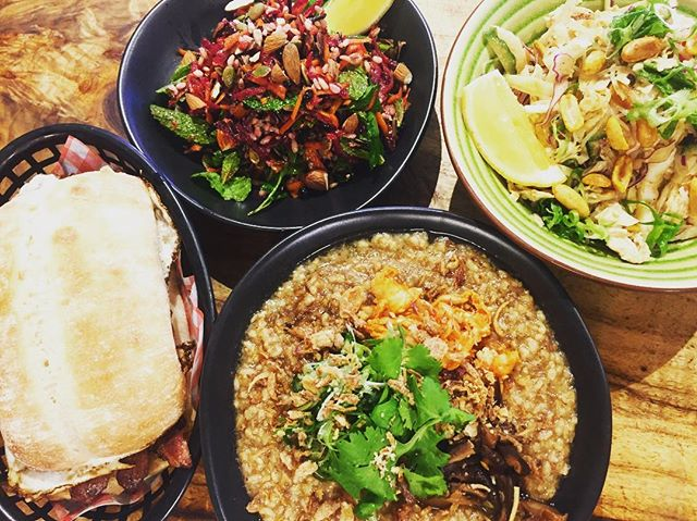 Rain rain go away, lucky Mali's back in the kitchen and cooking you yum yums! @milkbarbrunswickheads, oxtail brown rice congee with homemake kimchi, shiitake and herbs. Bang bang chicken salad, wild rice salad or bacon and eggs roll. Everything you want, I've got it! Come say good day and give me a big squeeze x #delicious #asian #food