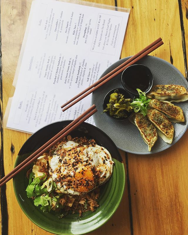 Pan fried vegetables gyoza with pickled mustard green and kim chi fried rice with a togarashi fried egg 😍 @milkbarbrunswickheads