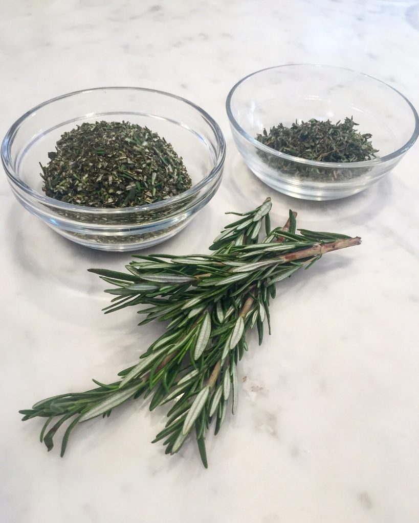 Alongside all of the toppings I always have an array of fresh herbs to sprinkle on top.  This really adds robust flavor to you pizzas.