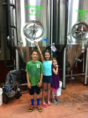 The Swami's grandchildren visit the brewery to learn how Chagrin Beer is made.