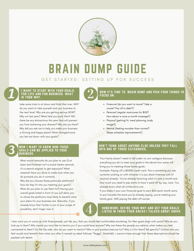 FREE PRINTABLE ** Brain Dump Guide - Let's Get Started Goal Setting!