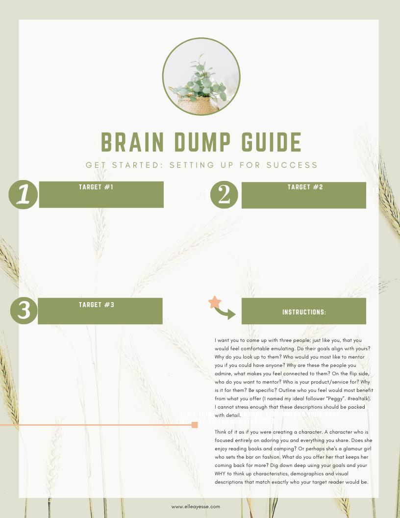 FREE PRINTABLE ** Brain Dump Guide - Let's Get Started Goal Setting! pdf printable