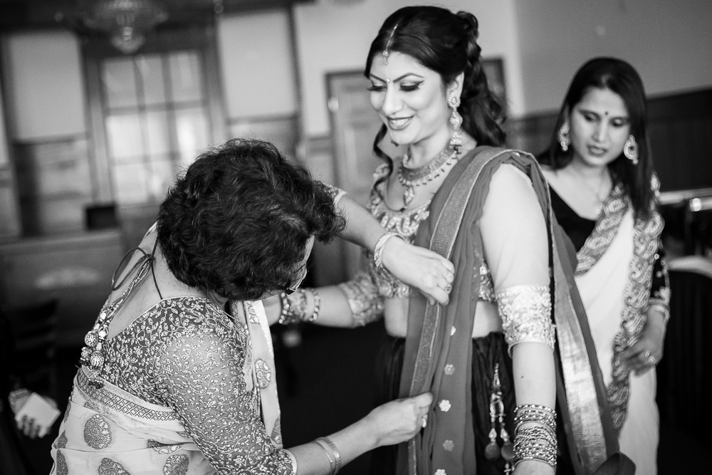 Hindu engagement ceremony prep | Megan Rei Photography