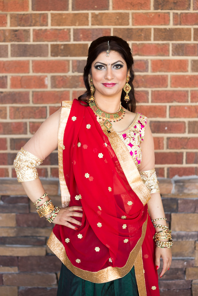 Bridal portrait before the Hindu engagement ceremony | Chantilly, Virginia