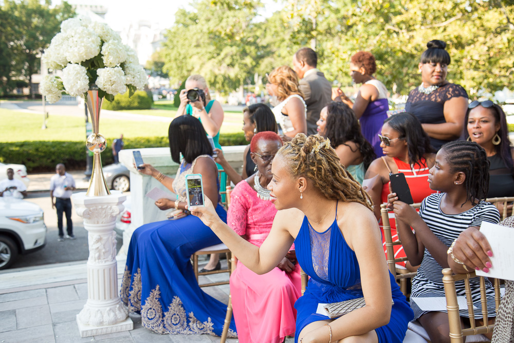 Wedding guests during the ceremony at DAR | Washington DC Wedding Photography | Megan Rei Photography