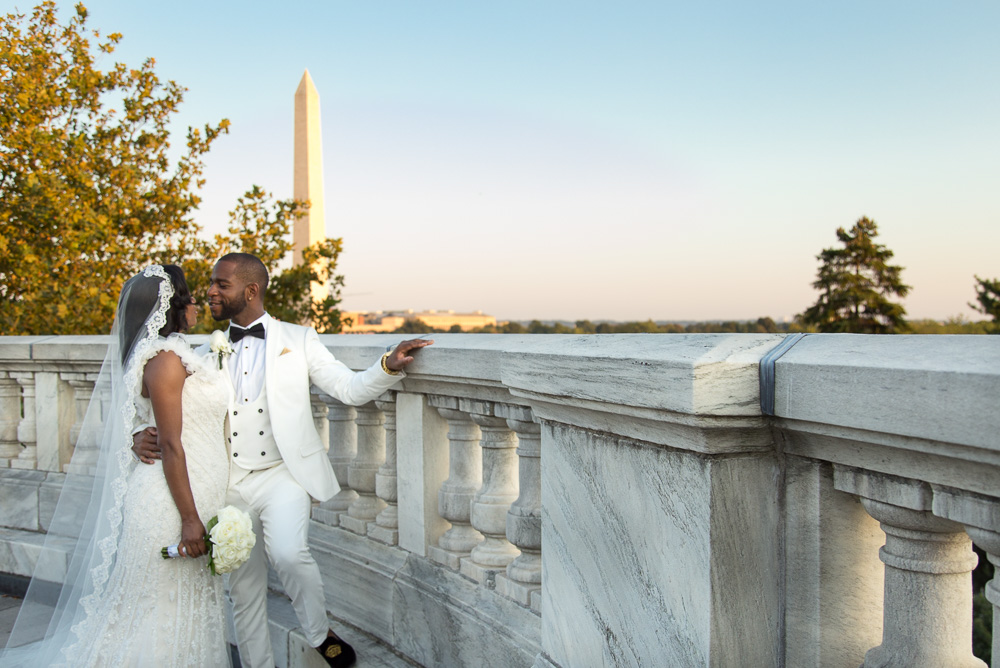 Bride and groom at DAR with the Washington Monument | Megan Rei Photography | DAR Wedding Photography