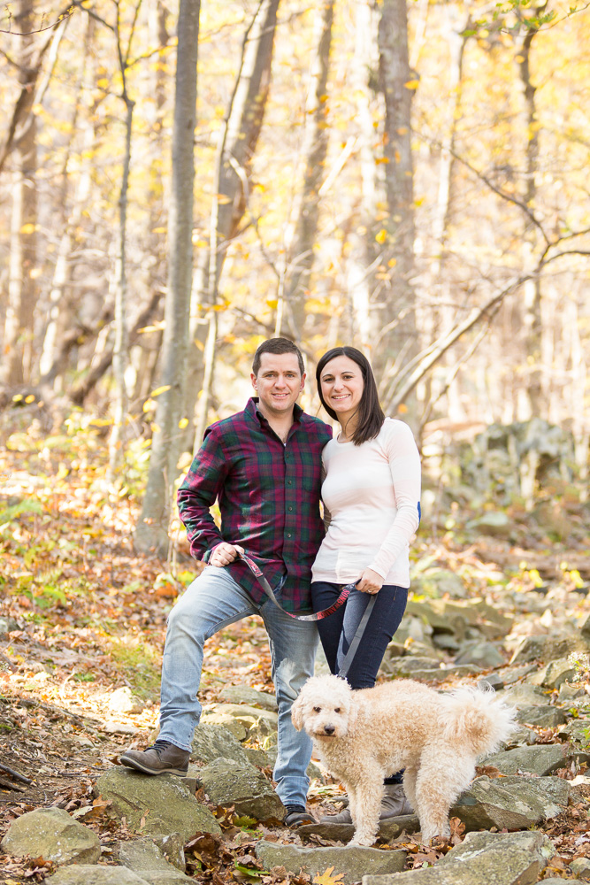 Hiking engagement session with their dog in Shenandoah National Park