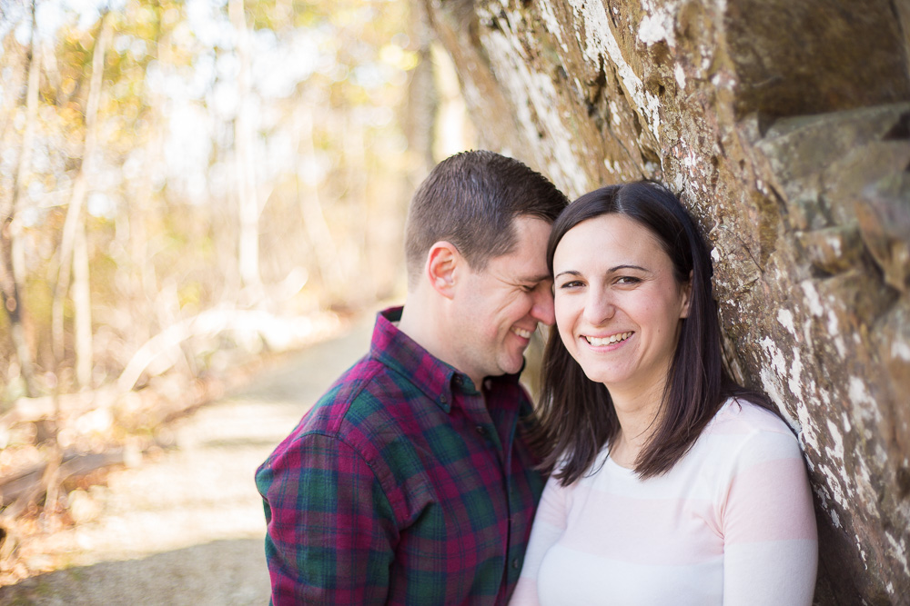 Engaged couple during a hiking engagement session in the Blue Ridge Mountains