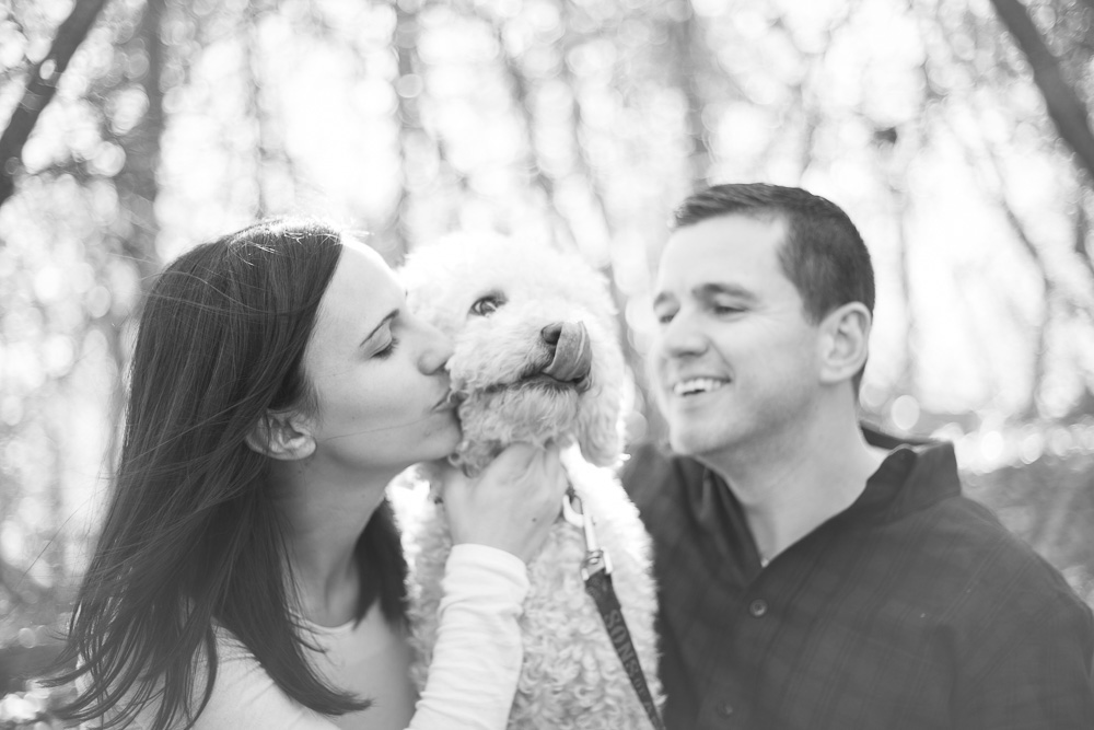 Puppy kisses during engagement shoot in the Blue Ridge Mountains
