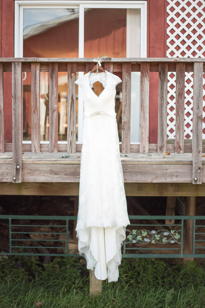 Wedding dress at linganore winecellars wedding