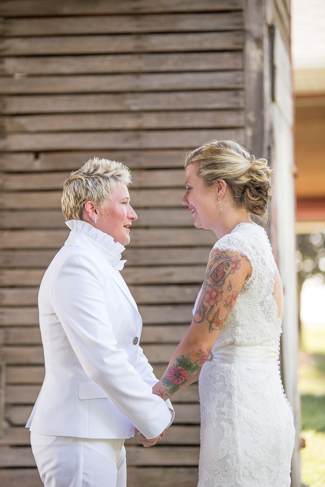 Two brides during same-sex wedding at Linganore Winecellars in Maryland