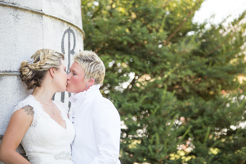 A kiss by the silo at Linganore Winery in Mount Airy, Maryland