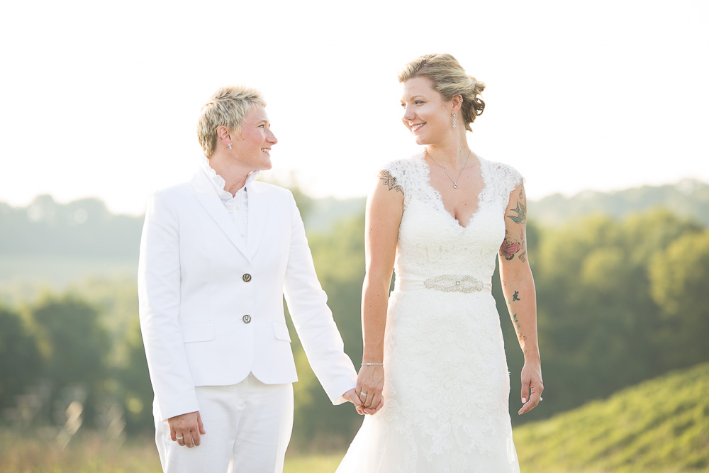 There's so much love in that look! | Vineyard Wedding | Maryland Wedding Photography | LGBT Wedding Photography