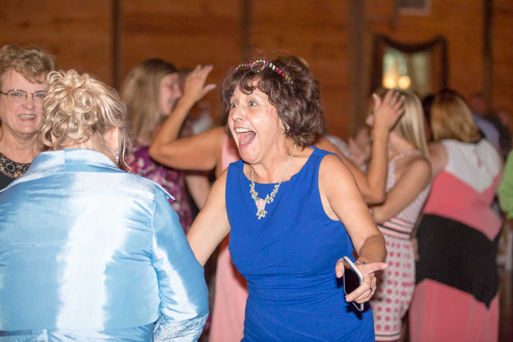Having fun on the dance floor during wedding reception