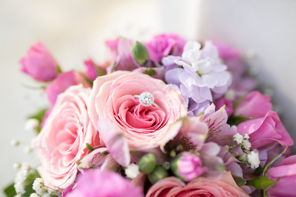 Halo engagement ring in a beautiful pink wedding bouquet from Twin Towers Florist in Arlington VA| Megan Rei Photography | Washington, DC Wedding