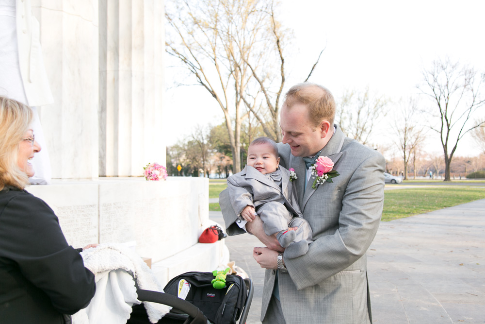 The groom and his son on the wedding day | Washington, DC candid wedding photography