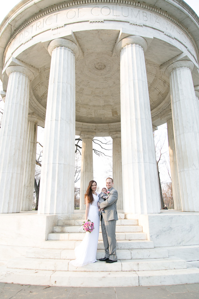 The happy wedding couple with their adorable son | Megan Rei Photography | Washington DC Wedding