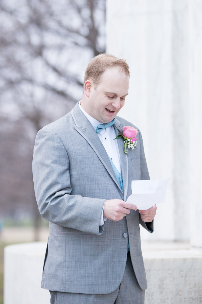 Groom reading his vows during the wedding ceremony | Washington DC Wedding at the DC War Memorial