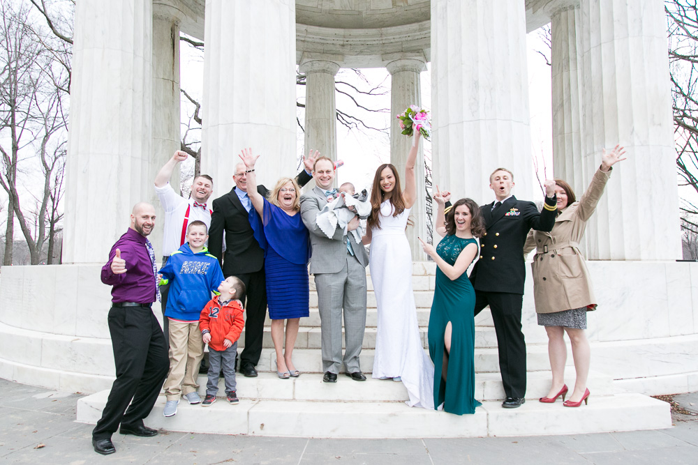 All of the happy wedding guests celebrating with the bride and groom | DC War Memorial Wedding Photography | Megan Rei Photography