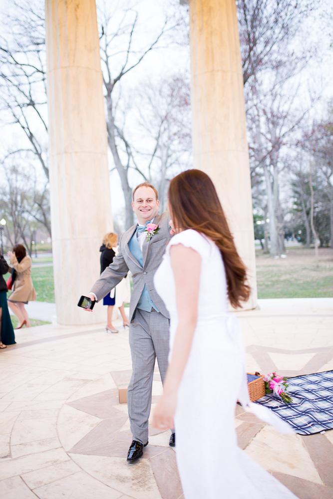 Husband and wife enjoying their first dance at the DC War Memorial | Northern Virginia Wedding Photographer | Washington, DC | Megan Rei Photography