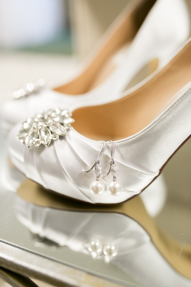 Wedding details – heels and earrings | Emily and Ben's Haymarket Wedding