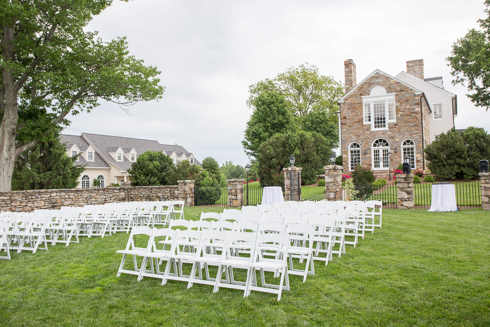 Outdoor wedding ceremony setup at Evergreen Country Club in Haymarket, VA