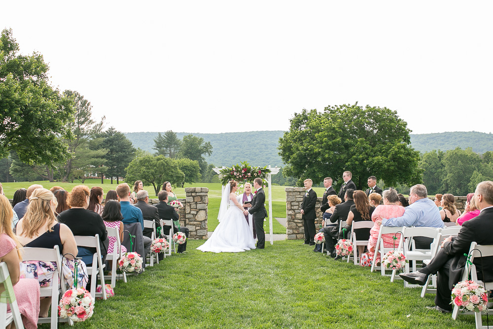 Gorgeous outdoor wedding ceremony with views of Bull Run Mountain | Northern Virginia Wedding Photography | Evergreen Country Club