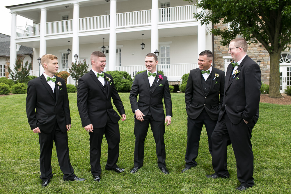 Groom and groomsmen in front of the Inn at Evergreen, Haymarket VA | Documentary style wedding photographer | Megan Rei Photography