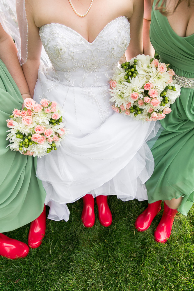 Rain boots in case of a rainy wedding day | Cute wedding photos | Haymarket, Virginia