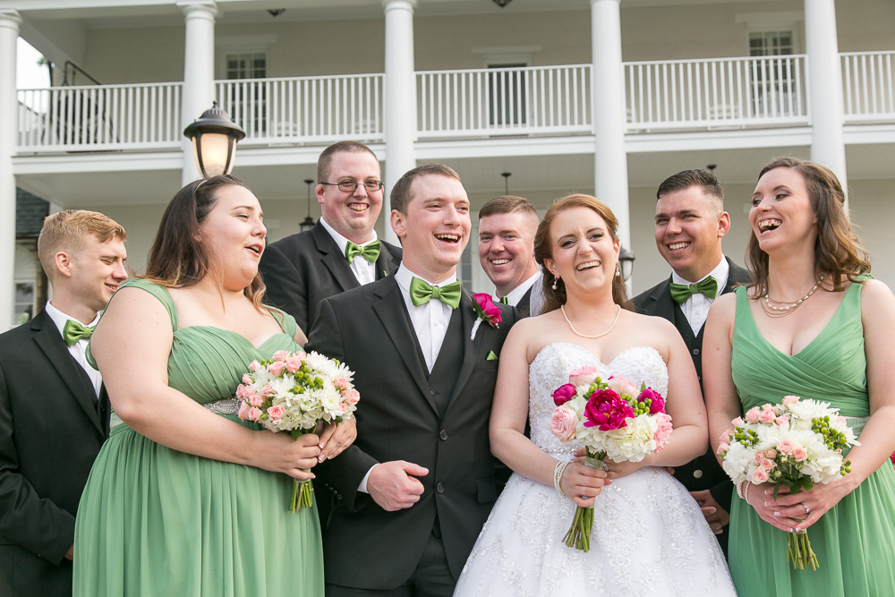 Wedding party having fun at Evergreen Country Club | Candid wedding photography