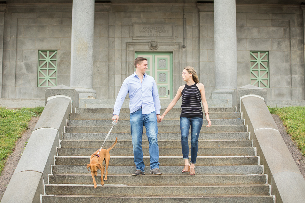 Karly and Adam with their dog Jack during their engagement session at Cobb's Hill Reservoir