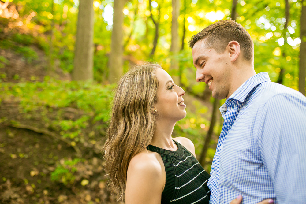 Hiking the trail at Cobb's Hill Park for engagement photos | Megan Rei Photography