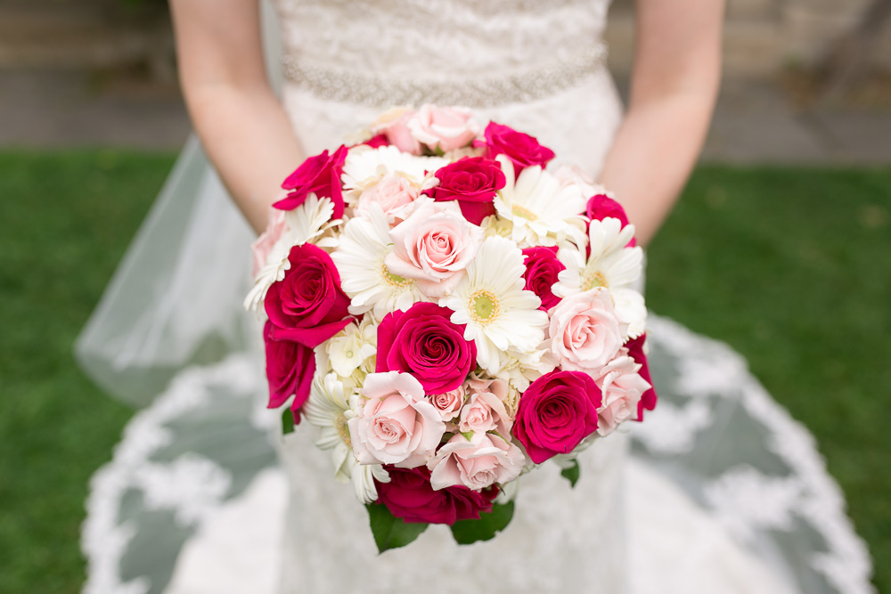 Red and white bridal bouquet in Rochester, NY | Wedding Photographer