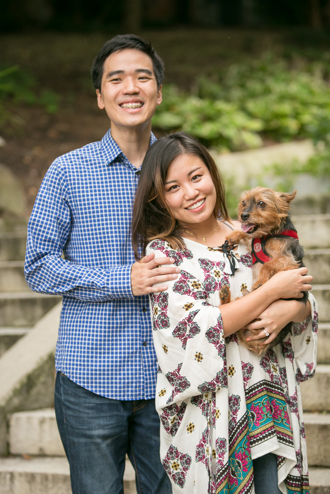 Engagement photos with their dog