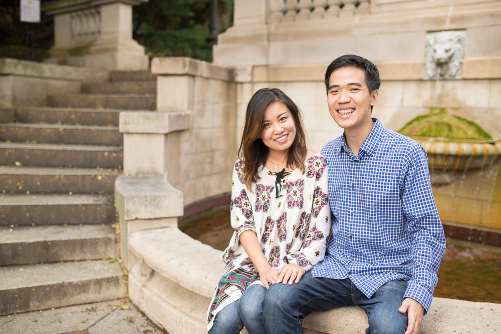 Smiling, recently engaged couple at the fountain on the Spanish Steps in DC | Megan Rei Photography