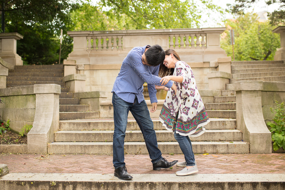 Candid engagement pictures in DC