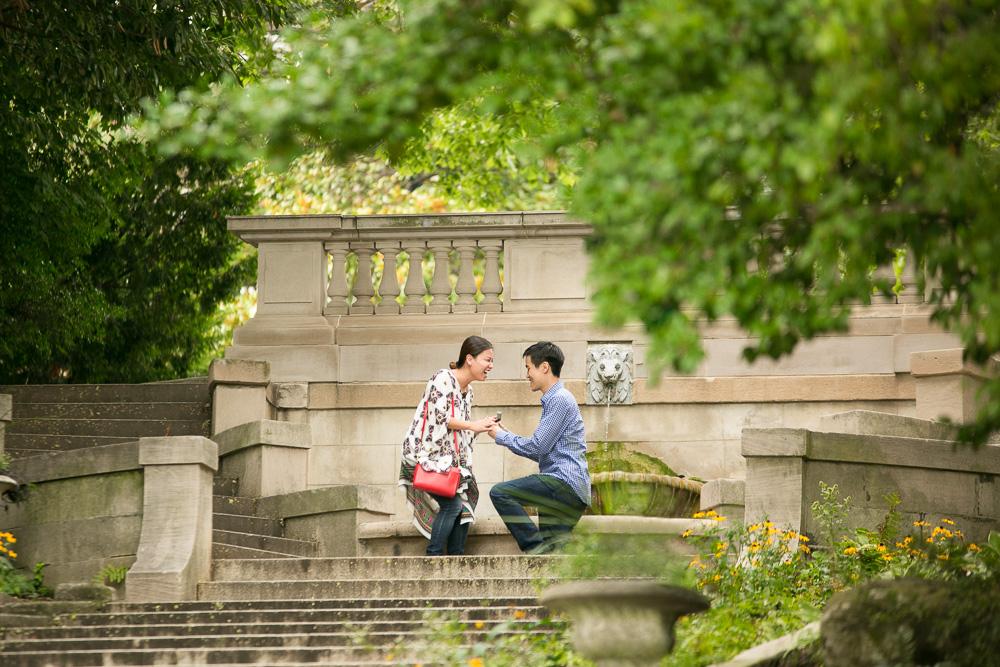 Romantic wedding proposal on the Spanish Steps in DC | Washington DC Wedding Photographer