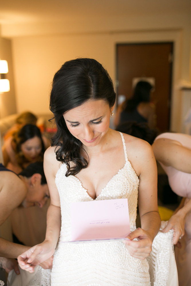 Emotional moment reading a letter from the groom | Winery at Bull Run Wedding | Megan Rei Photography