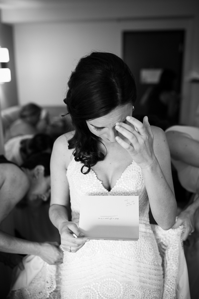 Bride gets emotional reading a letter from the groom | Documentary Northern Virginia Wedding Photographer | Megan Rei Photography