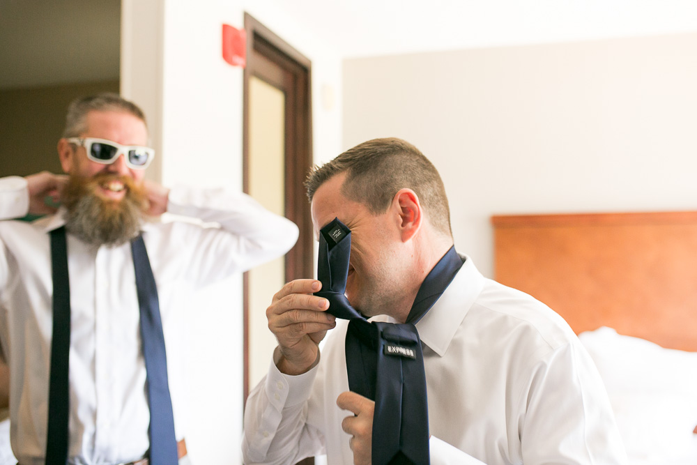 Groom goofing around while getting ready | Fun Wedding Photographer in Northern Virginia