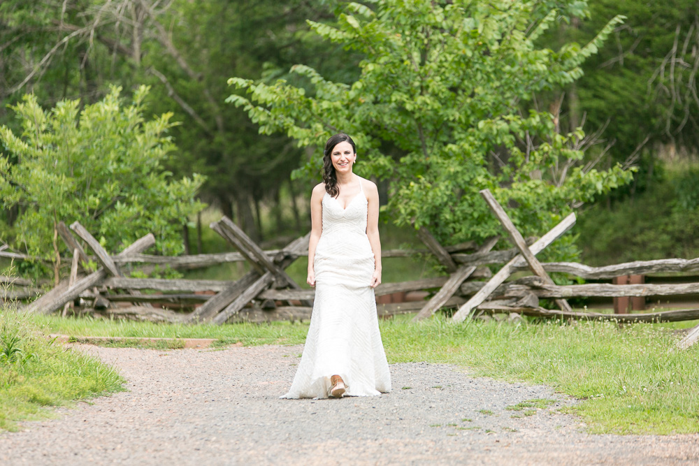 Bride walking down the trail to the First Look | Manassas Battlefield Photography