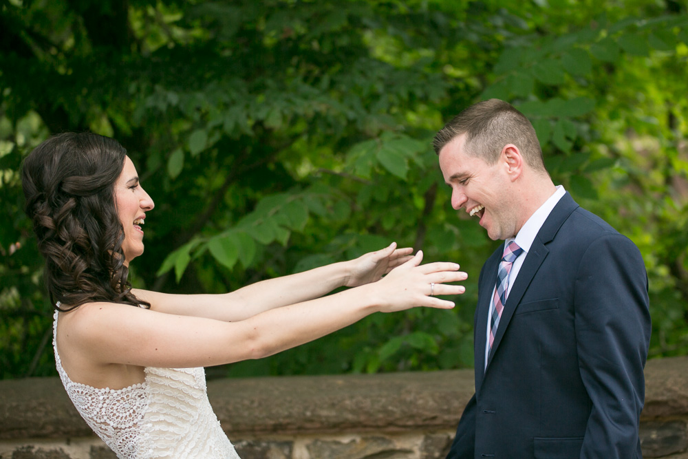 Bride and groom seeing each other for the first time | Bull Run Winery Wedding Photos | Northern Virginia Candid Photographer